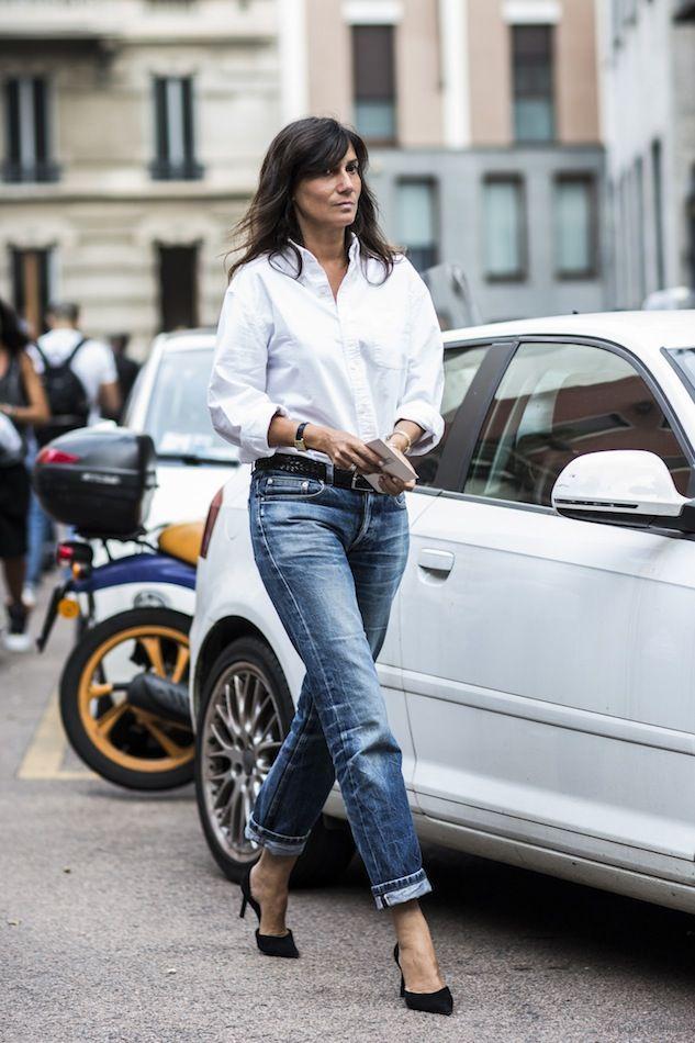 Cách chọn quần jeans xanh và áo sơ mi trắng