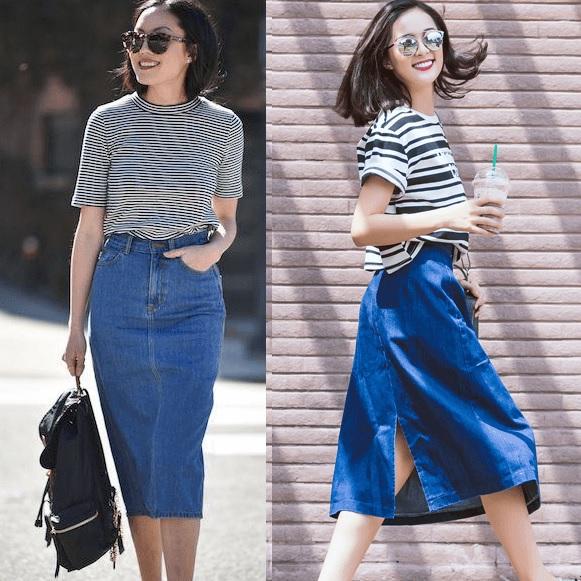 Áo thun sọc và chân váy jeans là set đồ vừa trẻ trung và thanh lịch