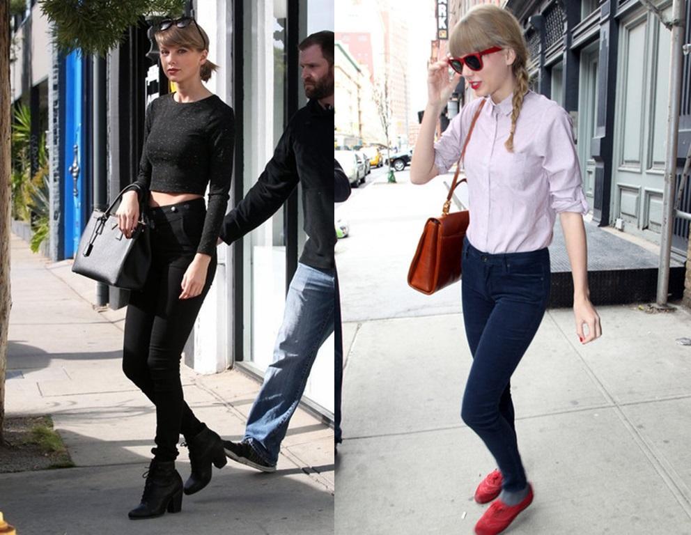 Taylor Swift cũng là sao nổi tiếng có dáng trái bowling và thường xuyên mặc skinny jeans.