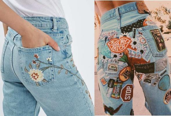 quần jean nữ nhiều họa tiết cho vòng ba lép