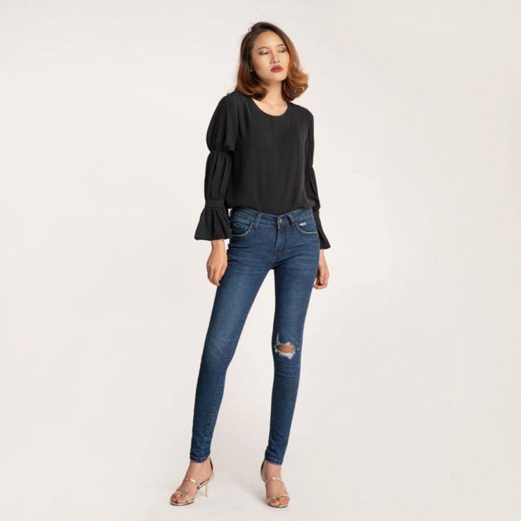 Quần Jean Nữ Skinny Rách Xanh Đậm - Meraki Collection