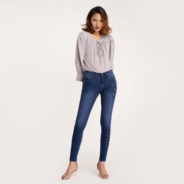 Quần Jean Nữ Skinny Xanh Đậm Thêu - Meraki