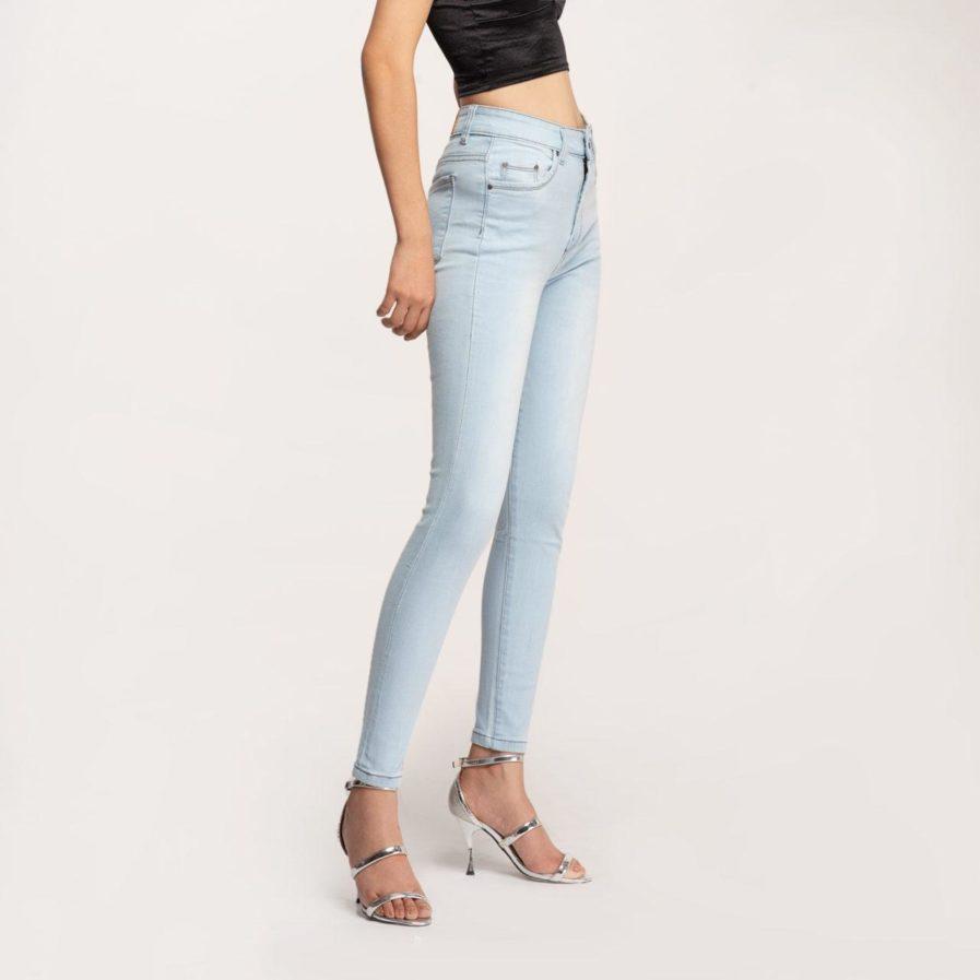 Quần Jean Nữ Màu Xanh Sáng Dáng Skinny Lưng Cao
