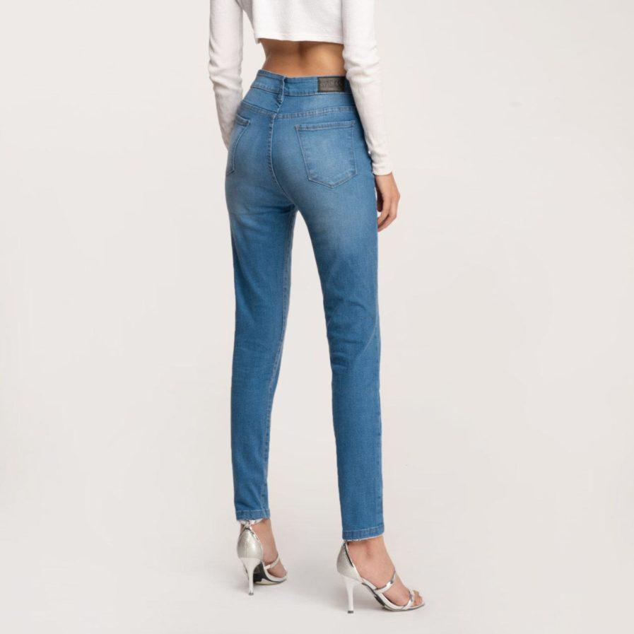 Quần Jeans Dài Cạp Cao Dáng Skinny Xanh Biển