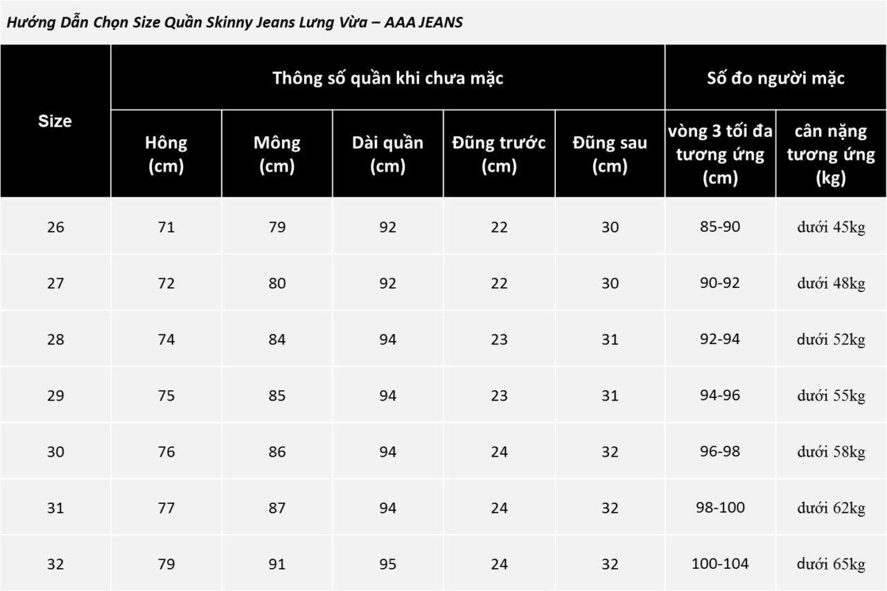 Hình ảnh Bảng size quan skinny lung vua - size chart