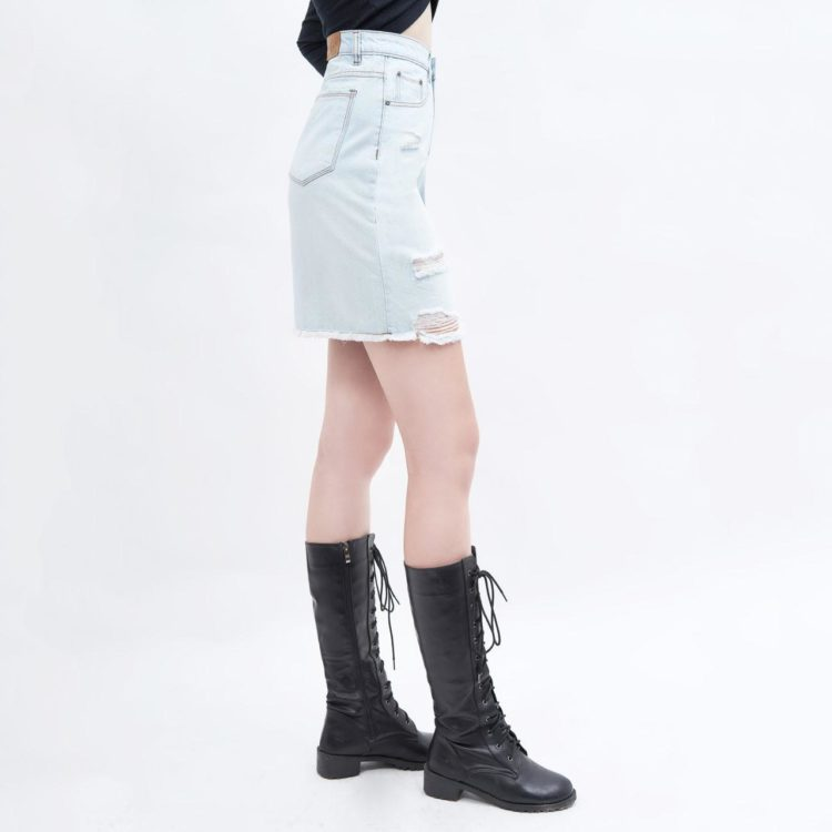 chân váy jean AAA JEANS lưng cao xanh nhạt