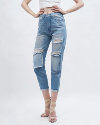 Quần jean nữ boyfriend rách màu xanh