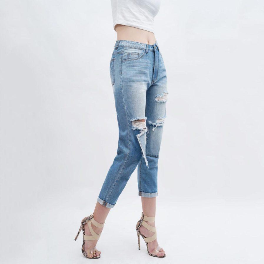 Quần Jean Baggy Nữ Lưng Cao Rách Aaa Jeans