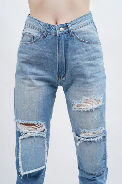 Quần jean nữ boyfriend AAA JEANS rách màu xanh