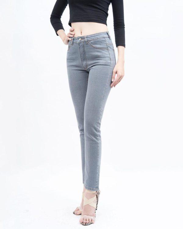quần jean nữ AAA JEANS ống đứng lưng cao màu xám