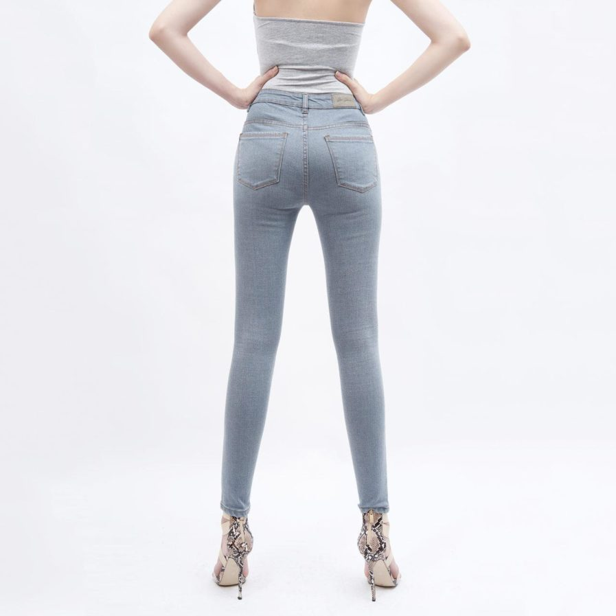 Quần Jeans Xám Lưng Cao