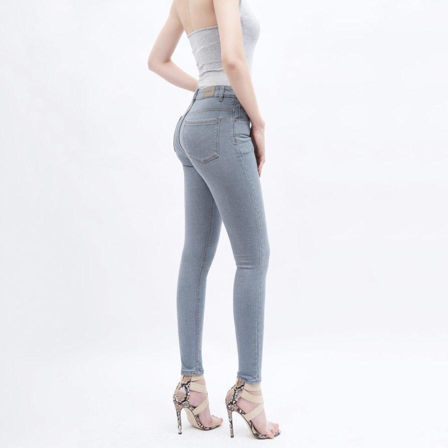 Quần Jeans Xám Lưng Cao Dáng Skinny