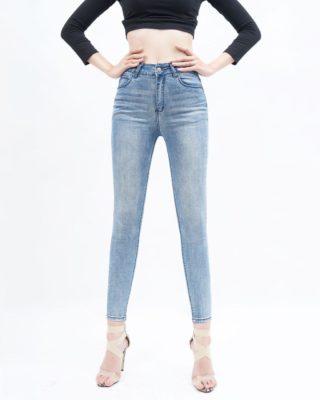 quần jean nữ skinny AAA JEANS lưng cao xanh nhạt