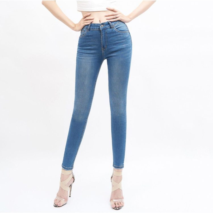 quần jean nữ skinny AAA JEANS lưng cao xanh