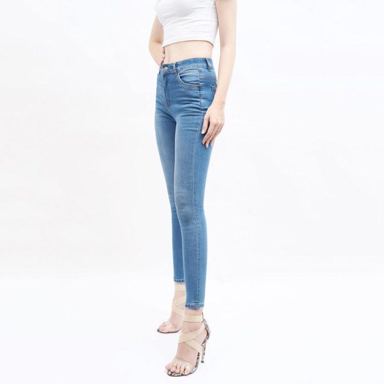 quần jean nữ skinny AAA JEANS lưng cao xanh đậm