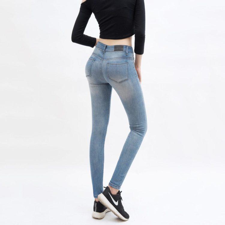 quần jean nữ AAA JEANS skinny lưng cao xanh nhạt