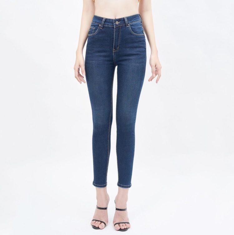 Quần jean nữ lưng cao dáng skinny xanh đậm