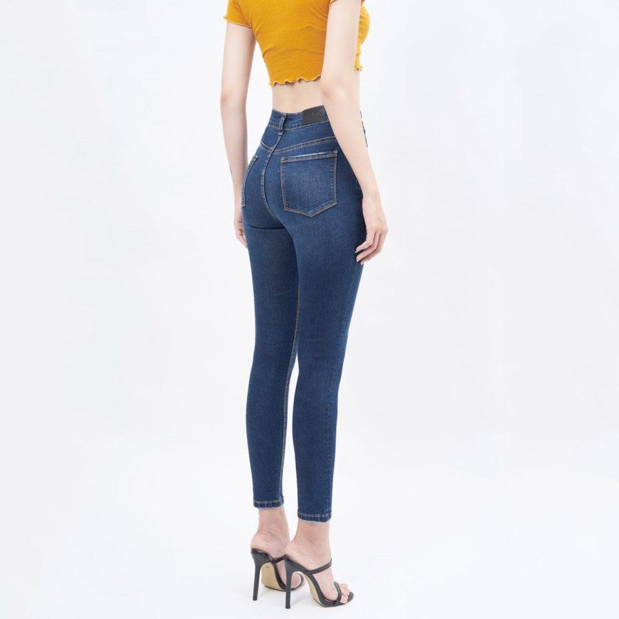 Quần jeans lưng cao dáng skinny xanh dark