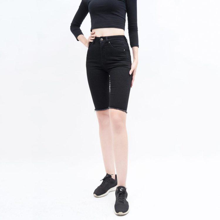 quần short jean nữ AAA JEANS skinny lưng cao