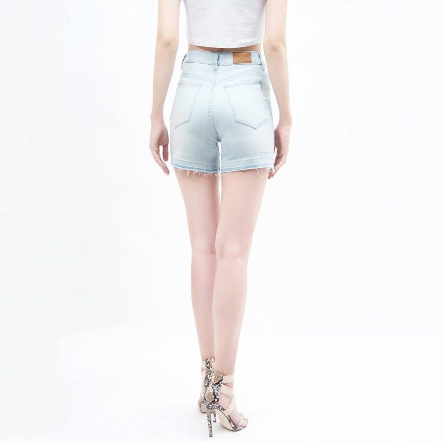 quần short jean nữ AAA JEANS lưng cao xanh nhạt