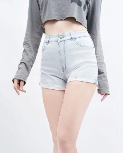 quần short jean nữ AAA JEANS lưng cao
