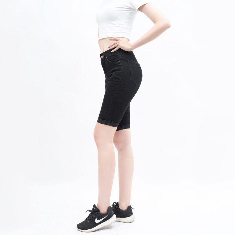 Quần short jean ngang gối lưng cao đen - UCSD RAYON