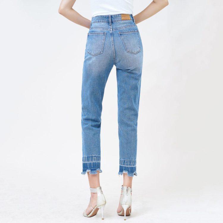 Quần jeans nữ boyfriend rách lưng cao medium blue