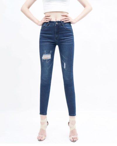 Quần jean nữ skinny lưng cao rách xanh đậm