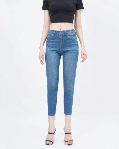 Quần jean nữ ankle skinny lưng cao medium blue - UCSD RAYON
