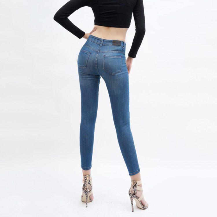 Quần jean nữ ankle skinny lưng vừa xanh - UCSD RAYON