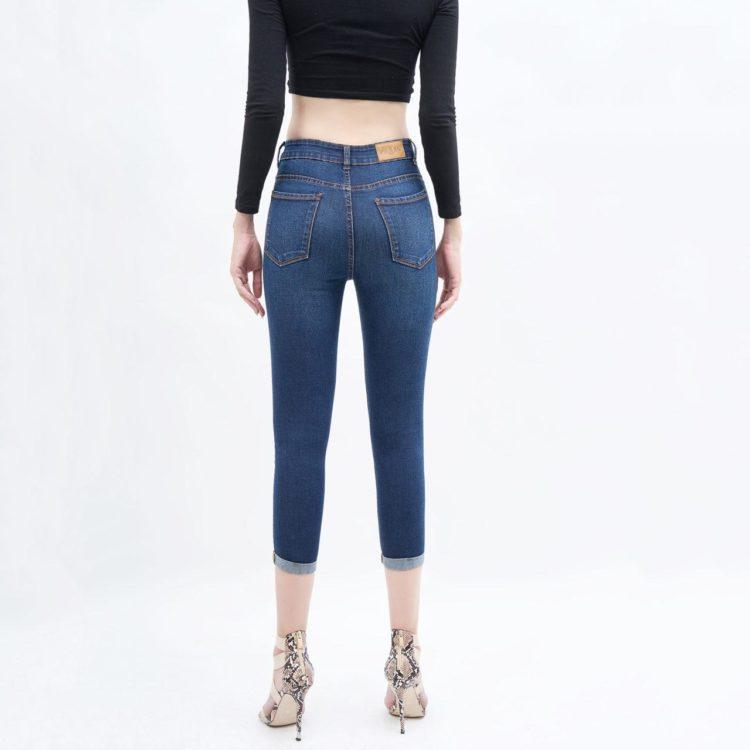 Quần jean nữ lửng skinny lưng cao xanh đậm