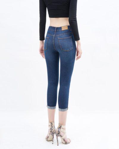 Quần jean nữ lửng skinny lưng cao xanh đậmQuần jean nữ lửng skinny lưng cao xanh đậm