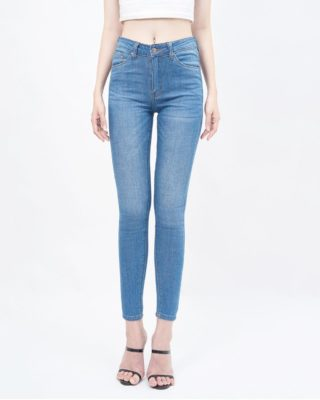 Quần jean nữ skinny lưng cao medium blue - UCSD RAYON