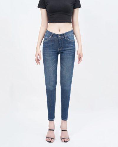 Quần jean nữ skinny lưng vừa dark blue - UCSD RAYON