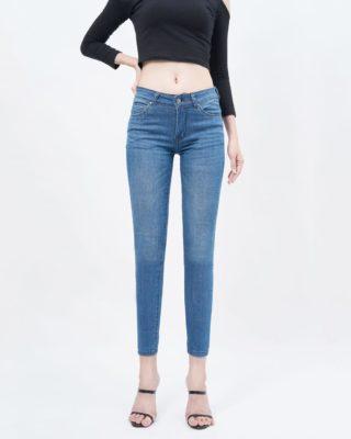 Quần jean nữ skinny lưng vừa xanh medium blue - UCSD RAYON