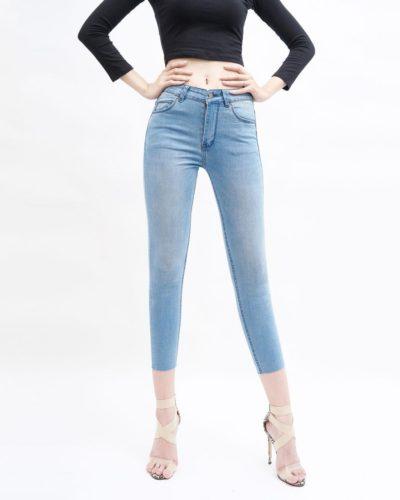 quần jean nữ skinny AAA JEANS lưng cao màu xanh aqua