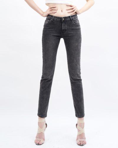 quần jean nữ skinny AAA JEANS lưng vừa màu xám LC