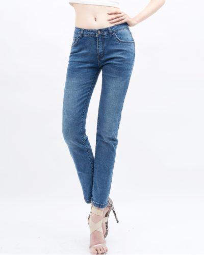 quần jean nữ skinny AAA JEANS lưng vừa màu xanh