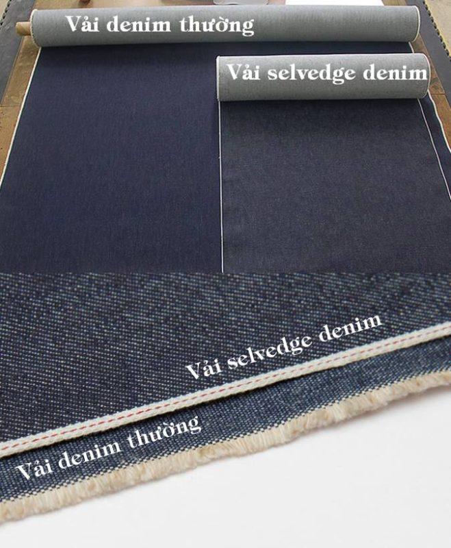 Hình ảnh so sánh vải selvedge denim và vải thường