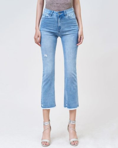 Quần jean nữ ổng vẩy ankle tua line Savoy blue