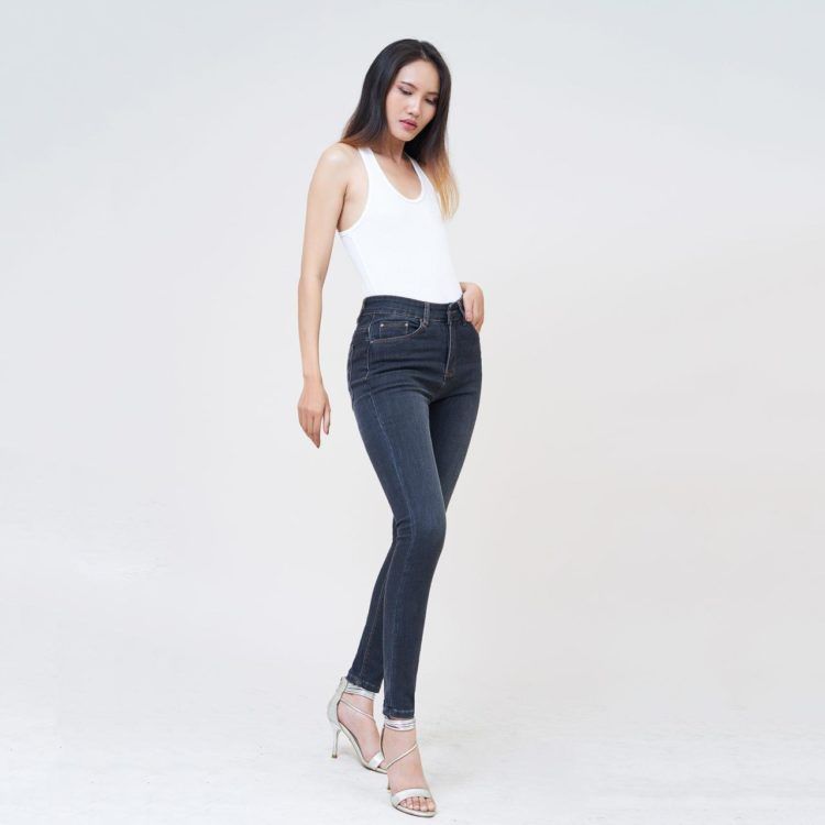Hình ảnh Quần Jean nữ AAA JEANS dài trơn lưng cao Dimgray SKDCTRNZC_DID-5