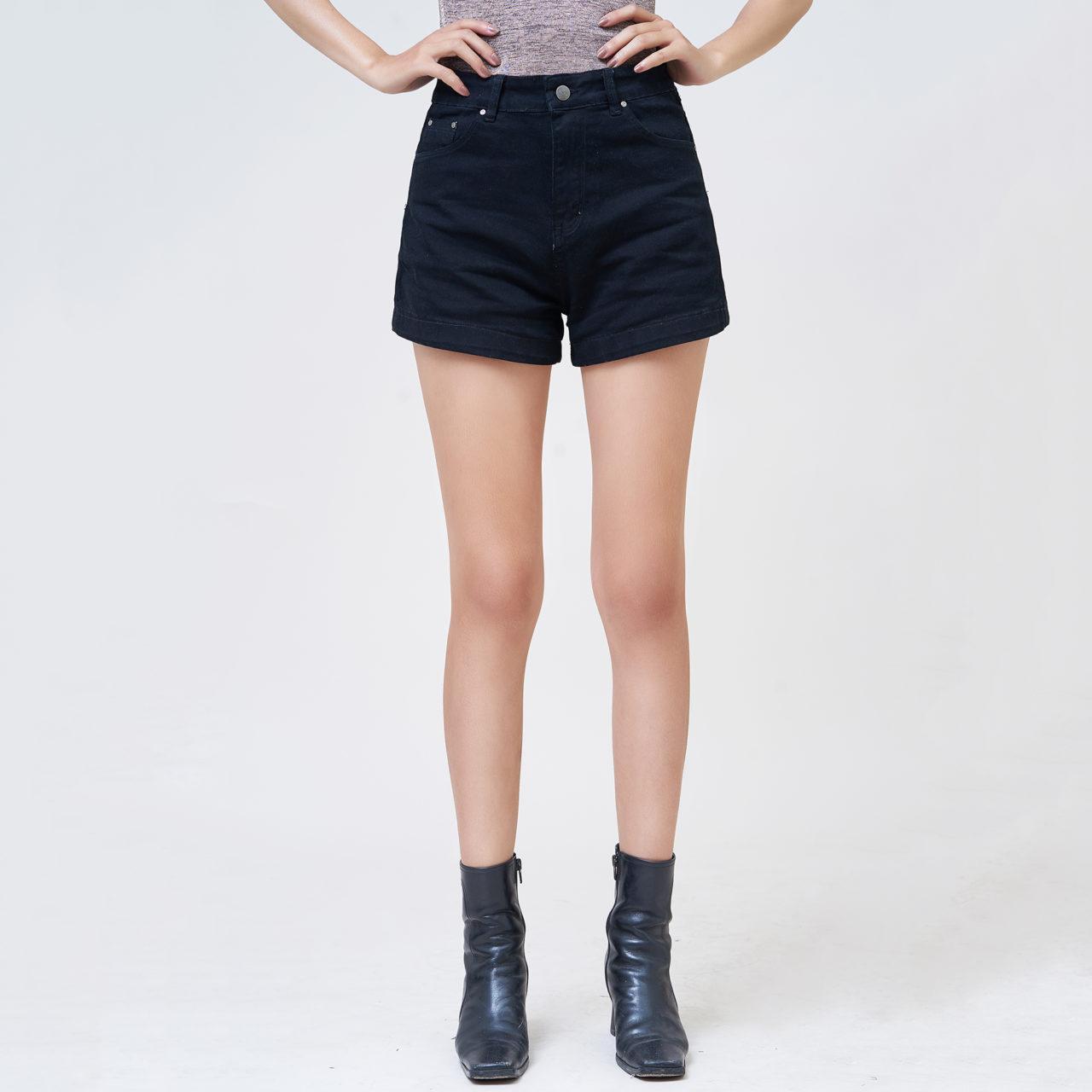 Quần Short Jean Nữ Lưng Cao Màu Đen Pha Tơ Nhân Tạo Chính Hãng