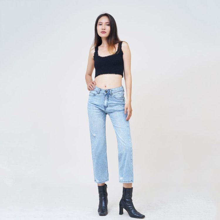 Hình Ảnh Quần boyfriend nữ Aaa Jeans ankle rách silver blue BFACNRNZC_SIE-5