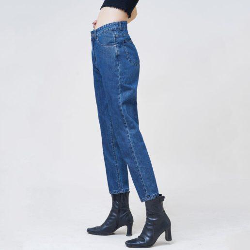 Quần jean nữ boyfriend ankle xanh dậm