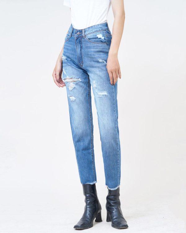 Quần jean nữ boyfriend rách xanh nhạt