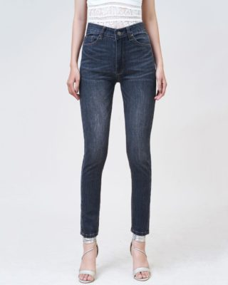 Quần jean nữ Aaa Jeans lưng cao skinny dark gray SKDCTRNZC_DGD-1