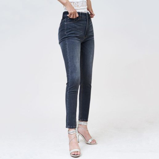 Quần jean nữ Aaa Jeans lưng cao skinny dark gray SKDCTRNZC_DGD-3