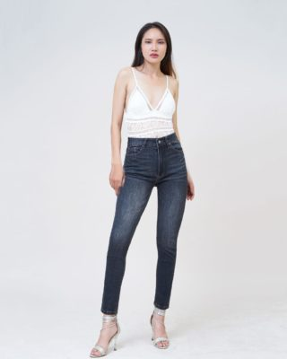 Quần jean nữ Aaa Jeans lưng cao skinny dark gray SKDCTRNZC_DGD-5