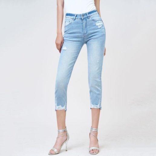 Quần jean nữ lưng cao ống đứng ankle galaxy blue