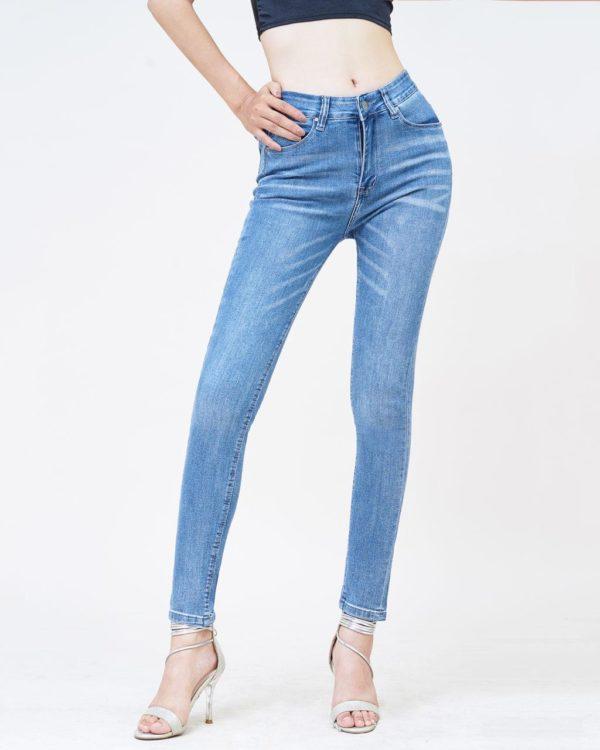 Quần jean nữ skinny lưng cao Spanish blue